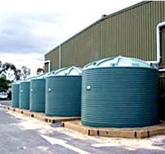 rainwater tanks at factory